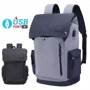 Unisex Urban Grey / Black USB Bag College Office Laptop Backpack mc468 YF1