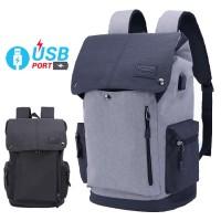 Unisex Urban Grey / Black USB Bag College Office Laptop Backpack mc468 YF1