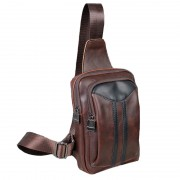 Man Coffee Leather Stylish Chest Pouch Bag Men Crossbody Beg Lelaki MC478 YG1