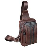 Man Coffee Leather Stylish Chest Pouch Bag Men Crossbody Beg Lelaki MC478