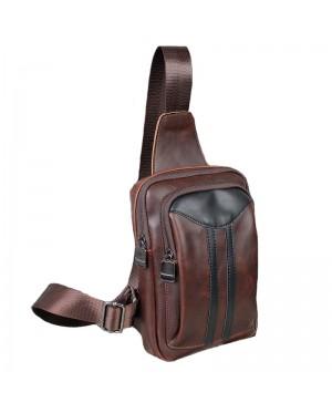 Man Coffee Leather Stylish Chest Pouch Bag Men Crossbody Beg Lelaki MC478 YG1