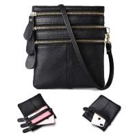 Unisex Quality Black Leather Three Zippers Mini Sling Bag MC461 RH3