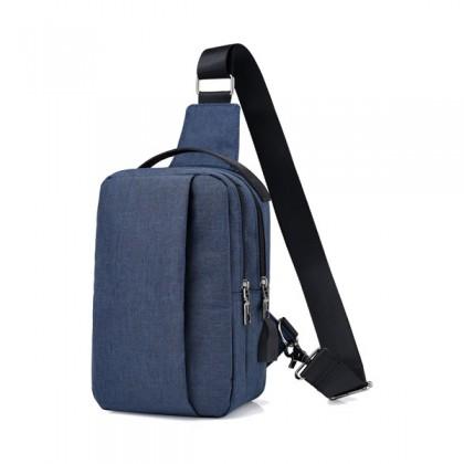 MC505 Man Canvas Stylish Double Zipper Box Chest Bag Crossbody Beg