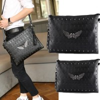 Unisex Sling Belt Skull Metal Design Clutch Bag Large Wallet Hand Bag mc499 RD3