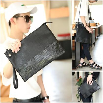 MC500 Man Black Leather Faux Crocodile Skin Hand Carry Sling Envelope Clutch Hand Bag