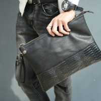Man Black Leather Faux Crocodile Skin Hand Carry Sling Envelope Clutch Hand Bag mc500 RD2