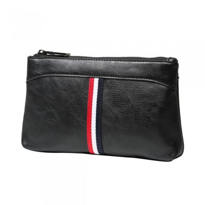 MC496 Man Stylish Simple Strips Leather Clutch Hand Carry Bag Large Wallet