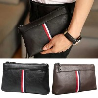 Man Stylish Simple Strips Leather Clutch Hand Carry Bag Large Wallet MC496 F3