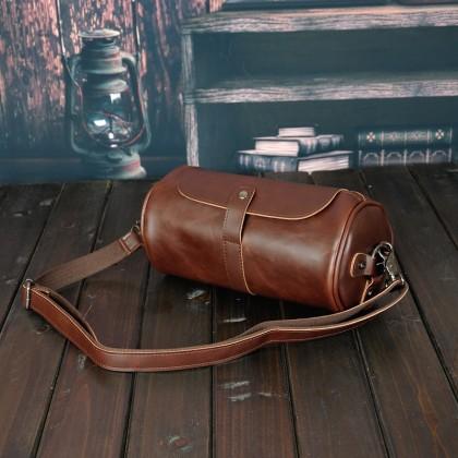 MC498 Man Stylish Barrel Design Leather Sling Bag Men Beg 水桶包 MSB