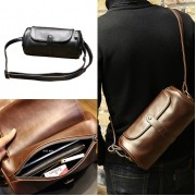 Man Stylish Barrel Design Leather Sling Bag Men Beg 水桶包 MC498 YT2