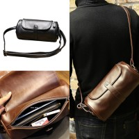 Man Stylish Barrel Design Leather Sling Bag Men Beg 水桶包 MC498 YT5