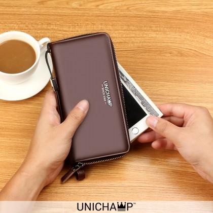 [Unichamp] MC502 Man Convenient Slim & Thin Zipper Wallet With Sling Belt