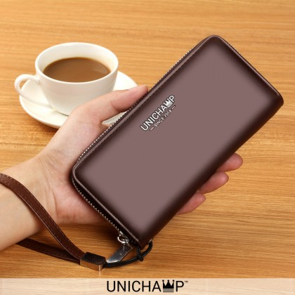 [Unichamp] MC502 Man Convenient Slim & Thin Zipper Wallet With Sling Belt