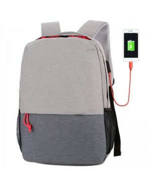 Unisex Simple City Design USB College Student Office Laptop Backpack MC508 YT5