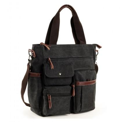Man Three Ways Carrying Multi Pocket Design Shoulder Stylish Sling Tote Canvas Bag mc510