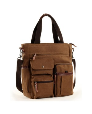 Man Three Ways Carrying Multi Pocket Design Shoulder Stylish Sling Tote Canvas Bag mc510 YC1