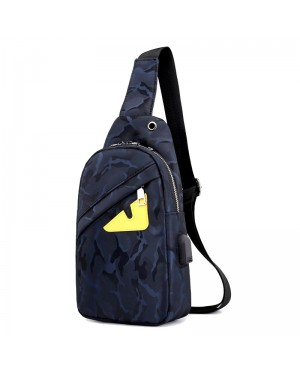 Man Camouflage Cool Black USB Charging Design Crossbody Bag Men Chest Pouch Beg MC515 LA1