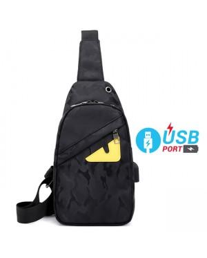 Man Camouflage Cool Black USB Charging Design Crossbody Bag Men Chest Pouch Beg MC515 YT3
