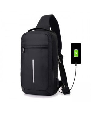 Man Long Shape Cushion Padded USB City Stylish Chest Pouch Crossbody Sling Bag Beg Lelaki USB Multi Compartment mc517 LD4