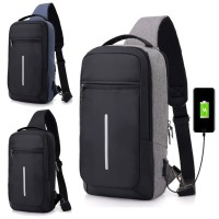 Man Long Shape Cushion Padded USB City Stylish Chest Pouch Crossbody Sling Bag Beg Lelaki USB Multi Compartment mc517 YN1