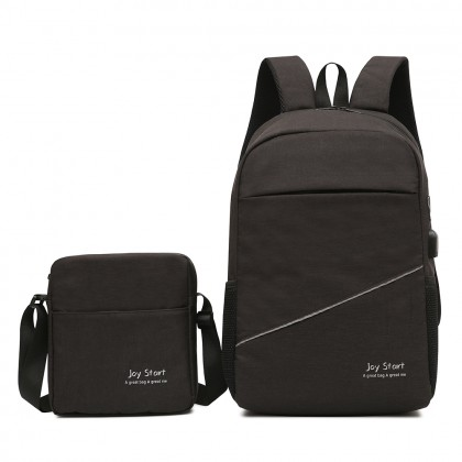 MC518 Unisex Simple Design Quality 2 in 1 Nylon Laptop Backpack College Daily Office Bag