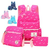 Girl Kids Primary School Ribbon Polka Dots Cute School Backpack Beg Budak Sekolah Comel Pink mc528 RE5