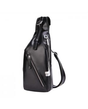 Man Elegant Cool Black Design Chest Pouch Sling Bag Beg Tepi Lelaki Kulit PU mc522 LD2