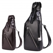 Man Elegant Cool Black Design Chest Pouch Sling Bag Beg Tepi Lelaki Kulit PU mc522 LD2