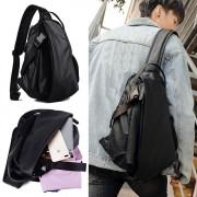 Man Extra Large Stylish Crossbody Sling Bag Beg Lelaki Charcoal Black Leather mc529 RC3