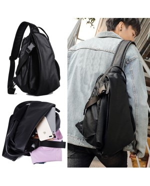 Man Extra Large Stylish Crossbody Sling Bag Beg Lelaki Charcoal Black Leather mc529 RC3