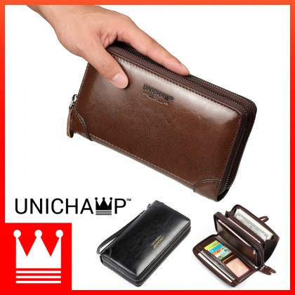 MC532 Man Double Zipper Hand Carry Clutch Large Wallet Phone Holder WAB