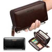 Man Double Zipper Hand Carry Clutch Large Wallet Phone Holder Dompet Besar Lelaki MC532 A1