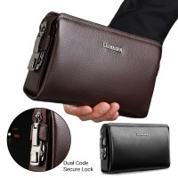 [Authenthic Leather] Man Clutch / Hand Carry Elegant Large Code Lock PadLock Wallet Dompet Lelaki mc530 A1