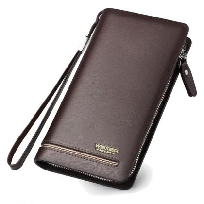 [Unichamp] MC533 Man Single Zipper Simple Easy Convenient Long Leather Wallet Dompet Lelaki Ez