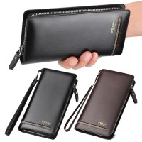 Man Single Zipper Simple Easy Convenient Long Leather Wallet Dompet Lelaki Ez mc533 RH2