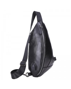 Man Cool Handsome Elegant Classic Leather Brown Black Chest Pouch Bag Crossbody Sling Beg mc551 RD1