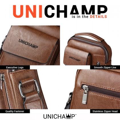 [Unichamp] MC543 Man Extra Pocket Classic Leather Medium Sling Bag Crossbody Beg Lelaki MSB