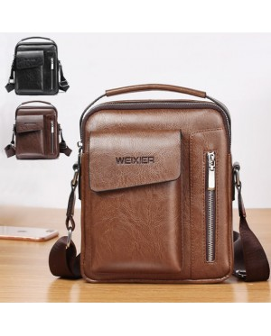 Man Extra Pocket Classic Leather Medium Sling Bag Crossbody Beg Lelaki mc543 RB7