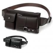 Man Thin Version Quality Leather Waist Bag / Chest Pouch Beg Lelaki MC544 RD7