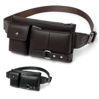 Man Thin Version Quality Leather Waist Bag / Chest Pouch Beg Lelaki MC544