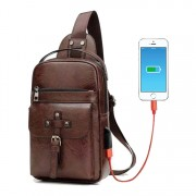 Man Lean Design Superior Leather Front Belt Chest Pouch Bag Beg Sling Lelaki MC545 RC2