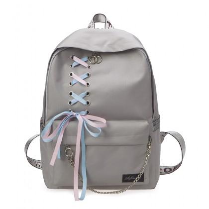 MC537 Girl College High / Secondary School Fancy Ribbon Shoelace Backpack Beg Sekolah Budak Perempuan