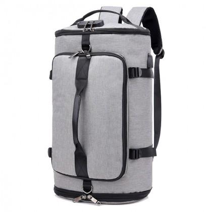 MC540 Unisex TSA Lock Shoe Slot Barrel Canvas Travel Backpack Daily Convenient Beg