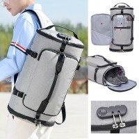 Unisex TSA Lock Shoe Slot Barrel Canvas Travel Backpack Daily Convenient Beg mc540 RF4