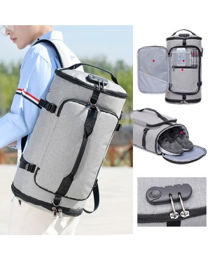 Unisex TSA Lock Shoe Slot Barrel Canvas Travel Backpack Daily Convenient Beg mc540 RF4