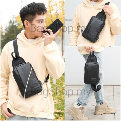 MC552 Man Black Brown Leather Chest Pouch Bag Men Crossbody Cool Stylish Sling Beg