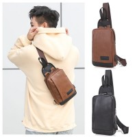 Man Black Brown Leather Chest Pouch Bag Men Crossbody Cool Stylish Sling Beg MC552 RD6