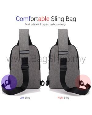 Man Black Grey Canvas Chest Pouch Bag Men Crossbody Stylish Sling Beg MC550 RC6