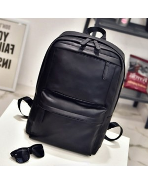 Unisex Black Coffee Leather College Office Daily Backpack MC413 RE2