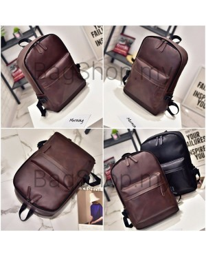 Unisex Black Coffee PU Leather College Office Daily Backpack MC416 RE2